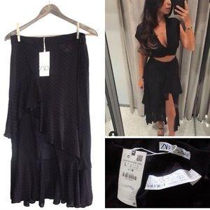 Zara Ruffled Polka Dot Maxi Skirt Large NWT